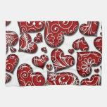 Corazones rojos retros toallas de cocina