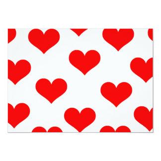 """Corazones rojos románticos del amor invitación 5"""" x 7"""""""