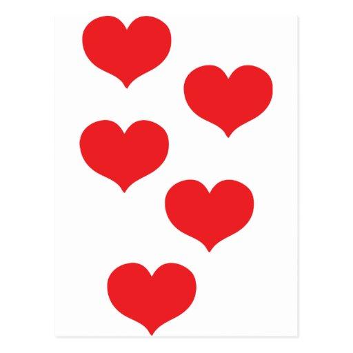 corazones rojos tarjeta postal