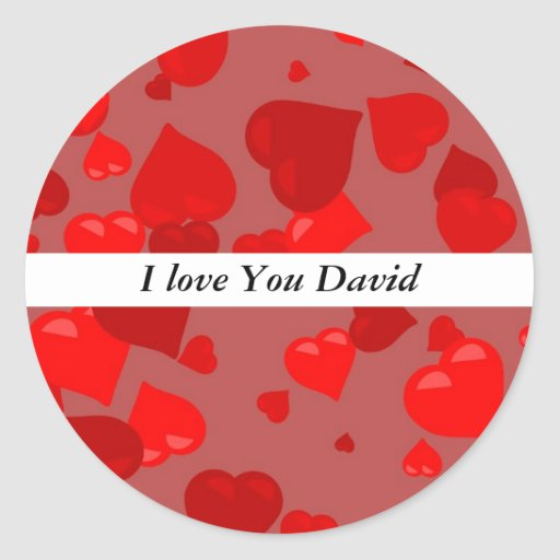 Corazones rojos, te amo David Etiqueta Redonda