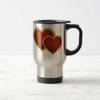 Corazones rojos unidos taza de café