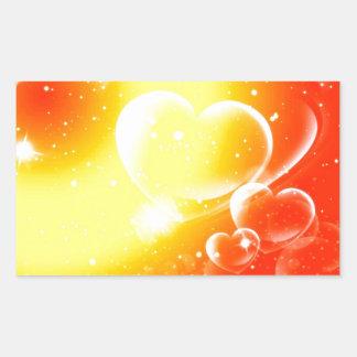 Corazones - rojos y amarillos… pegatina rectangular