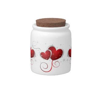 Corazones rojos y blancos de Swoosh Platos Para Caramelos