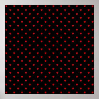 Corazones rojos y negros Modelo Posters