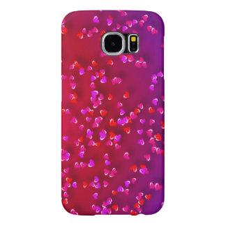 Corazones rojos y púrpuras fundas samsung galaxy s6