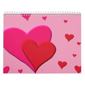 Corazones rojos y rosados de la tarjeta del día de calendario