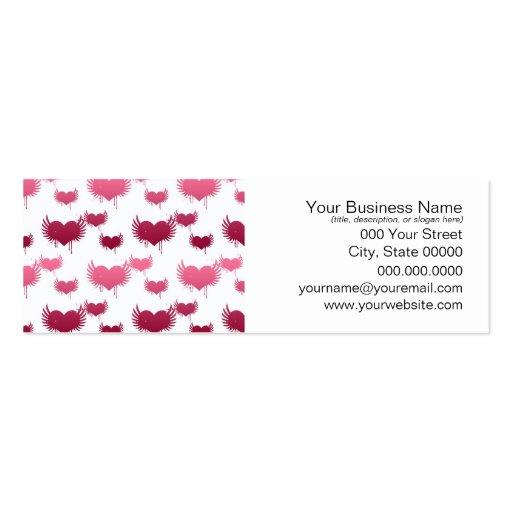 Corazones rojos y rosados lindos con las alas tarjetas de visita mini