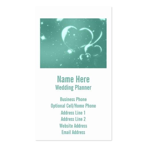 Corazones románticos de moda del verde esmeralda tarjetas de visita