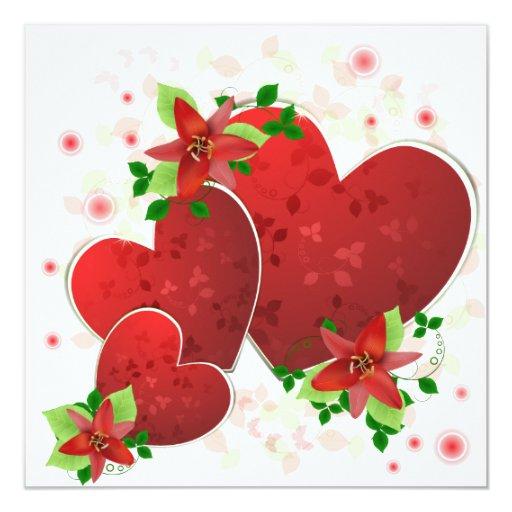 Corazones románticos rojos que casan la invitación invitación 13,3 cm x 13,3cm