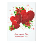 Corazones románticos rojos que casan la invitación invitación 12,7 x 17,8 cm