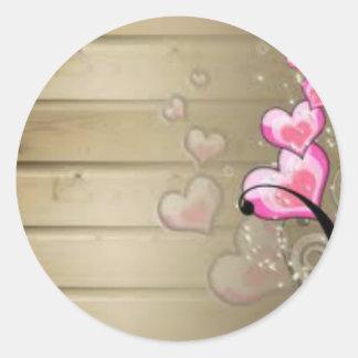 Corazones rosa etiquetas redondas