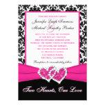 Corazones rosados blancos negros del damasco que c invitaciones personalizada
