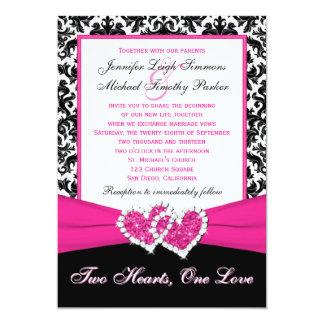 Corazones rosados blancos negros del damasco que invitaciones personalizada