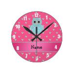 Corazones rosados bling personalizados de los diam relojes de pared