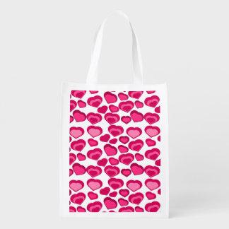 corazones rosados, bolso de ultramarinos bolsa de la compra