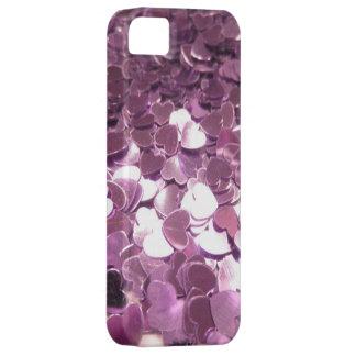 Corazones rosados brillantes iPhone 5 cárcasas