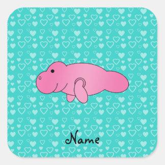 Corazones rosados conocidos personalizados de la t pegatina cuadradas