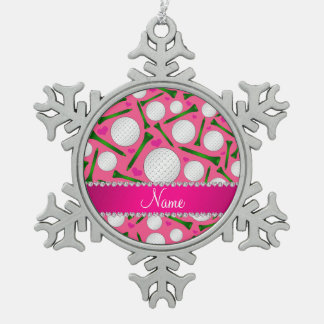 Corazones rosados conocidos personalizados de las adorno de peltre en forma de copo de nieve