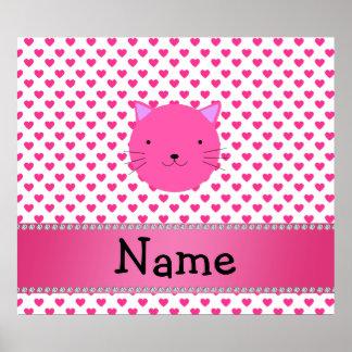 Corazones rosados conocidos personalizados del ros póster