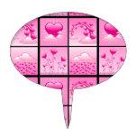 Corazones rosados de Girlie del amor Figuras De Tarta