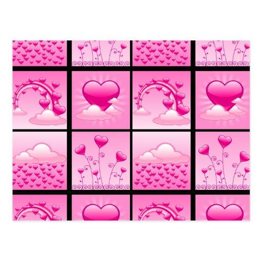 Corazones rosados de Girlie del amor Postal