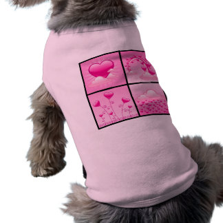 Corazones rosados de Girlie del amor Camisa De Mascota