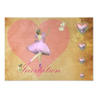 """Corazones rosados de la bailarina y del amor invitación 5"""" x 7"""""""