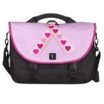Corazones rosados de la cinta bolsas de portátil
