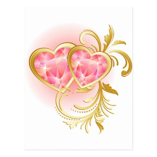 Corazones rosados de la joya tarjetas postales