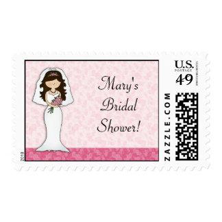 Corazones rosados de la novia estampilla