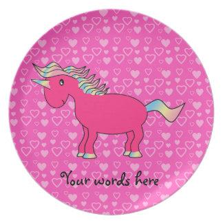 Corazones rosados de la tarjeta del día de San Val Platos Para Fiestas