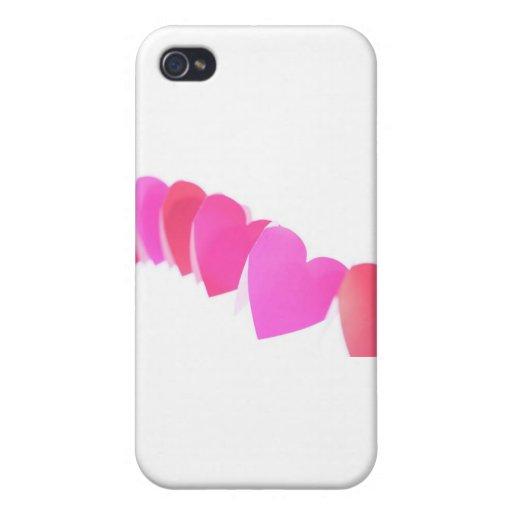 Corazones rosados de las tarjetas del día de San V iPhone 4 Protector