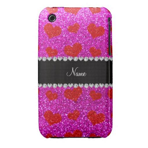 Corazones rosados de neón conocidos de encargo del iPhone 3 protectores