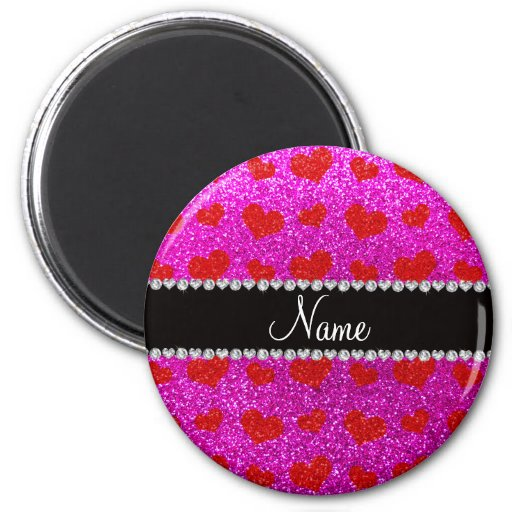 Corazones rosados de neón conocidos de encargo del imán de frigorifico