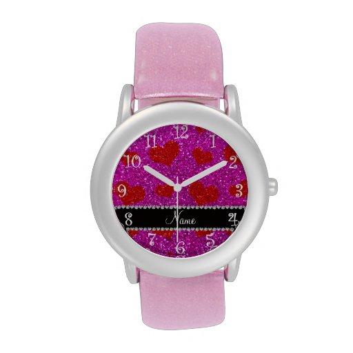 Corazones rosados de neón conocidos de encargo del reloj