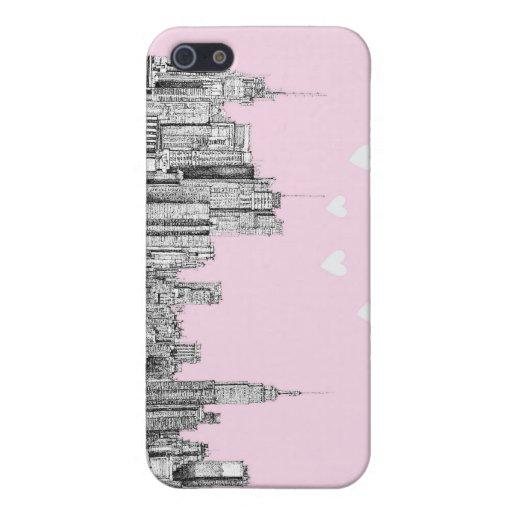 Corazones rosados de NYC iPhone 5 Cárcasas
