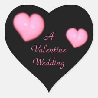 """Corazones rosados """"de un boda de la tarjeta del pegatina en forma de corazón"""
