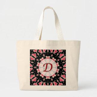 Corazones rosados del monograma D en el tote negro Bolsa Tela Grande