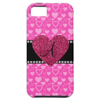 Corazones rosados del monograma iPhone 5 Case-Mate protectores