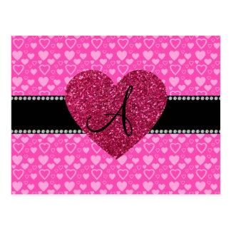 Corazones rosados del monograma postal