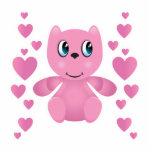 corazones rosados del oso de peluche de la tarjeta esculturas fotograficas