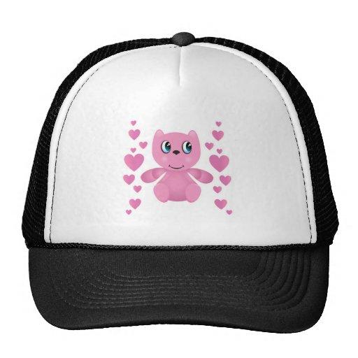corazones rosados del oso de peluche de la tarjeta gorras de camionero