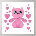 corazones rosados del oso de peluche de la tarjeta impresiones