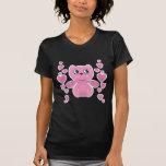 corazones rosados del oso de peluche de la tarjeta camisetas