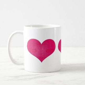 corazones rosados del resplandor taza de café