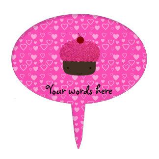 Corazones rosados del rosa de la magdalena del bri figuras para tartas