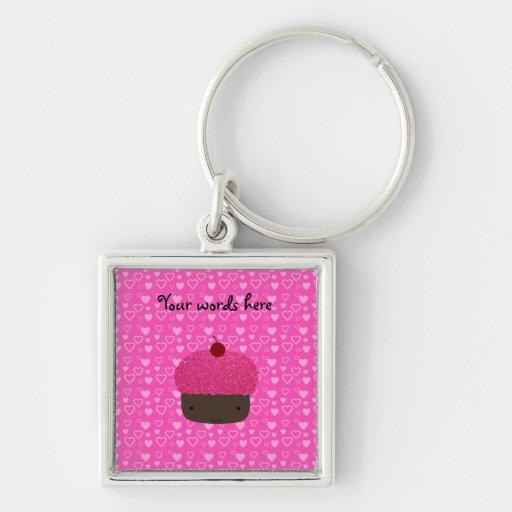 Corazones rosados del rosa de la magdalena del bri llaveros personalizados