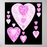 Corazones rosados. Diseño modelado del corazón Posters