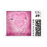 Corazones rosados dobles que casan el sello