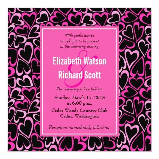 """Corazones rosados doodled dulce que casan la invitación 5.25"""" x 5.25"""""""